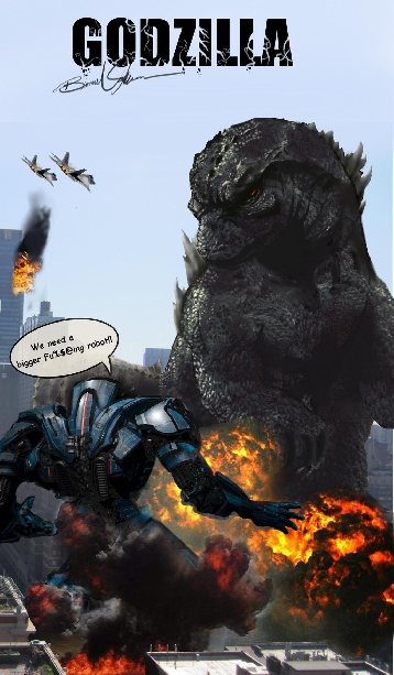 Comical fan art of Godzilla vs. Gipsy Danger from Pacific Rim