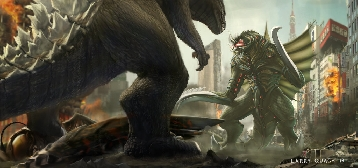Godzilla 2014 vs. New Megalon and Gigan by Larry Quach