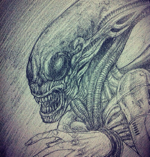 Homage to HR Giger's early Alien design