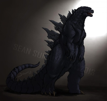 An accurate fan drawing of the new Godzilla from Godzilla (2014)
